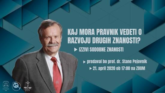 Predavanje zasl. prof. dr. Staneta Pejovnika: Izzivi sodobne znanosti