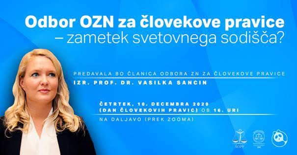 Predavanje izr. prof. dr. Vasilke Sancin: Odbor OZN za človekove pravice – zametek svetovnega sodišča?