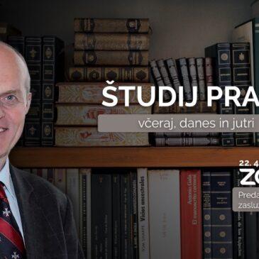 Predavanje zasl. prof. dr. Janeza Kranjca: Študij prava včeraj, danes in jutri